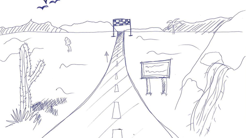 Esittää piirrettynä kuvana opiskeljan näkemystä opintopolusta.