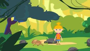 Kuvakaappaus animaatiosta. Piirroskuvassa pieni tyttö.
