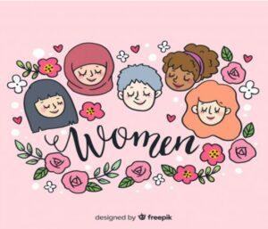 Piirroskuva, jossa on erilaisten naisten kasvoja ja kukkia.