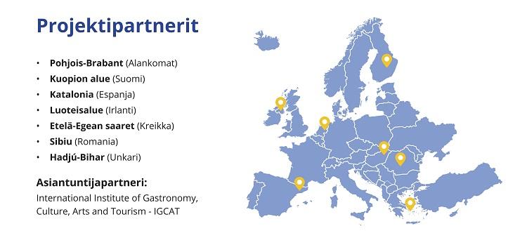 kartta josta näkyy maat joissa hanke toimii