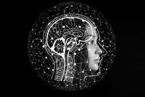 kuvituskuva jossa ihmisen pää ja aivot viivapiirroksena.