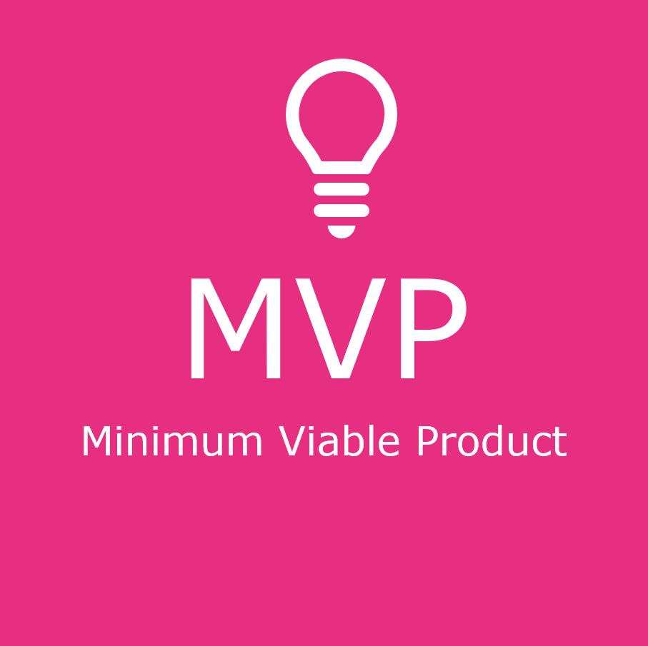 Pinkilä pohjalla valkoinen teksti Minimum Viable Product.